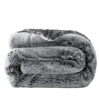 Autumn Winter Fluffy Warm Soft Blankets Fashion Bedlinens Faux Fur Mink Throw Double Layer Rabbit Fur Plaid Blanket On The Bed