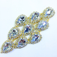 Best Quality 6x11cm Golden Base Crystal Clear Shiny Sewing Rhinestone Applique Patch