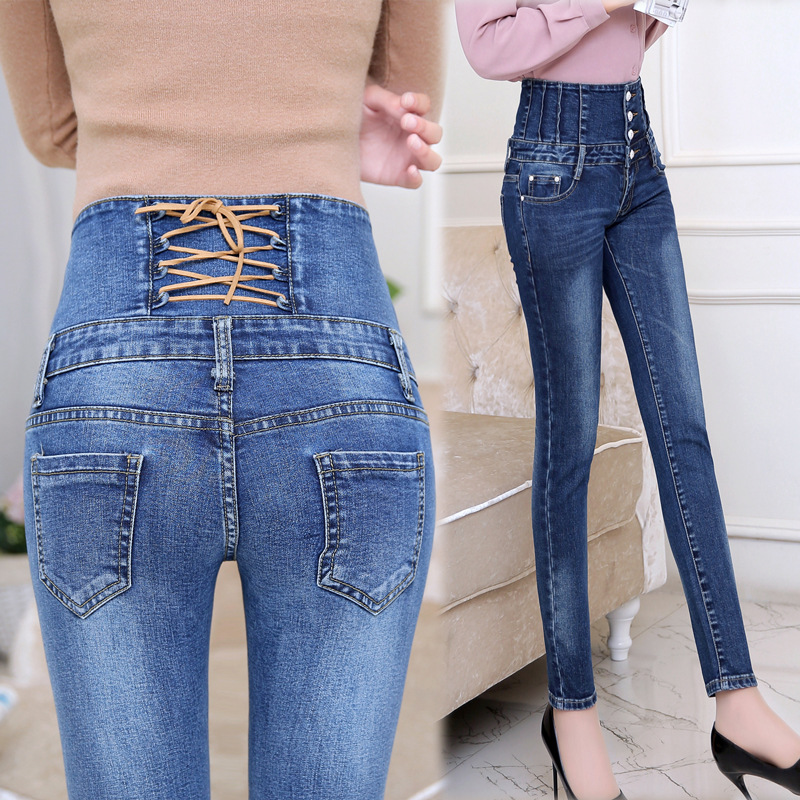 High Waist Elastic Jeans Womens Skinny Denim Long Pencil Pants Back Cross Woman Jeans Camisa Feminina Trousers Autumn Spring