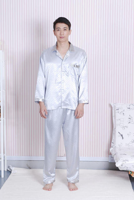 New Arrival Silver Men's Silk Pajamas Set Shirt+ Pants 2PCS Nightwear Chinese Style Sleepwear Size S M L XL XXL  A0160