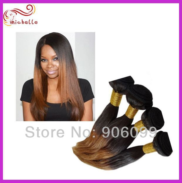 Cheap Kinky Straight Brazilian Virgin Human Ombre Hair Weave 2