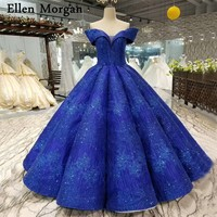 Colorful Royal Blue Ball Gowns Wedding Dresses 2019 Custom Made Sexy Sweetheart Off Shoulder Floor Length Glitter Bridal Gowns