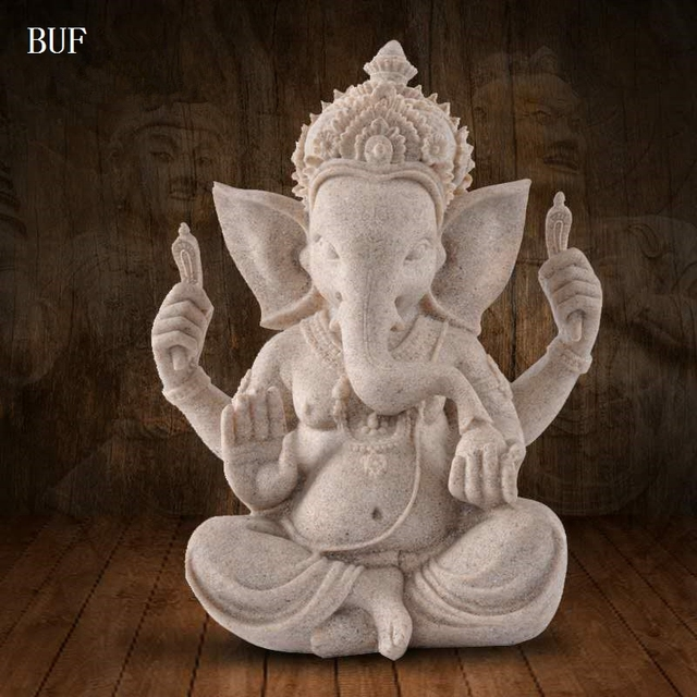 Buf sand indian elephant god statue decoration resin craft for Decoration jardin bouddha