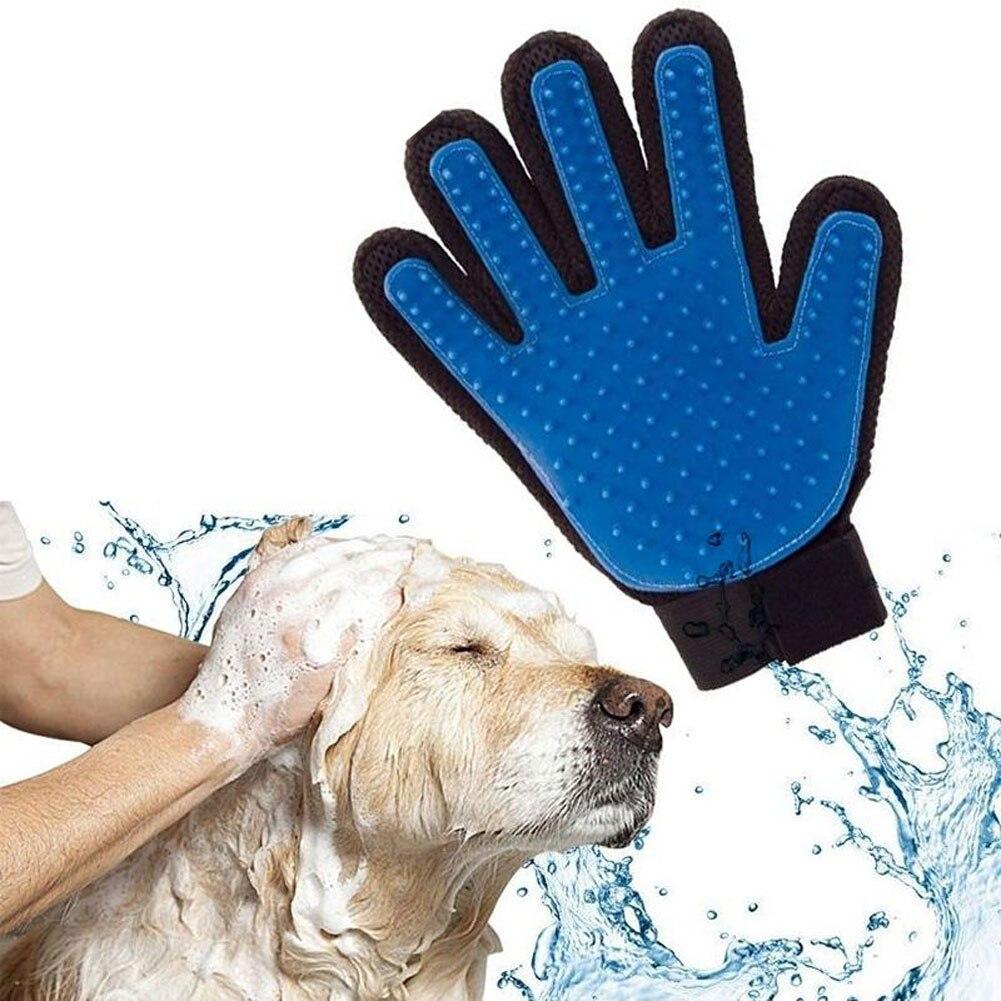 True Touch New Deshedding Brush Glove Pet Dog Cat Gentle Efficient Massage Grooming