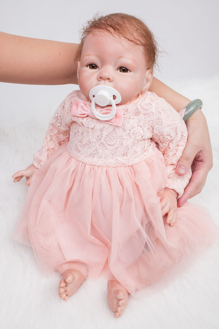 55cm New Soft Silicone Reborn Baby Doll Toys Lifelike Princess Newborn Girl Baby-Reborn Doll Birthday Gift Child Play House Toy комплект боди 3 шт детский luvable friends 30640 f розовый р 55 61