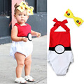 Newborn Baby Romper+ Headband Pokemon Go Boys and Girls Clothes Cartoon Pikachu Infant Jumpsuit Sleeveless Toddler Bebe Romper