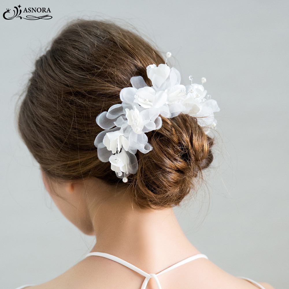 ASNORA Hair-Accessories Flower Bridal Handmade Wedding Yarn with In-Store Apertos-De-Cabelo