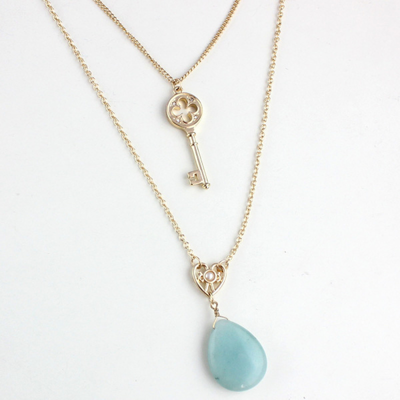Double Layers Key Waterdrop Amazon stone Pendant Necklace Multilayers Gold Chain Sweater Necklace Geometric Body Jewelry