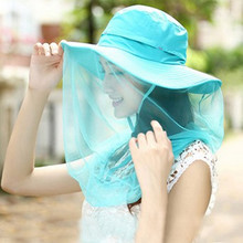 2017 Summer New Style Adult Lady Folding Sun Hats Fashion Casual Fixed Veil Anti – mosquito Anti – wind Belt Cover UV Beach Hat