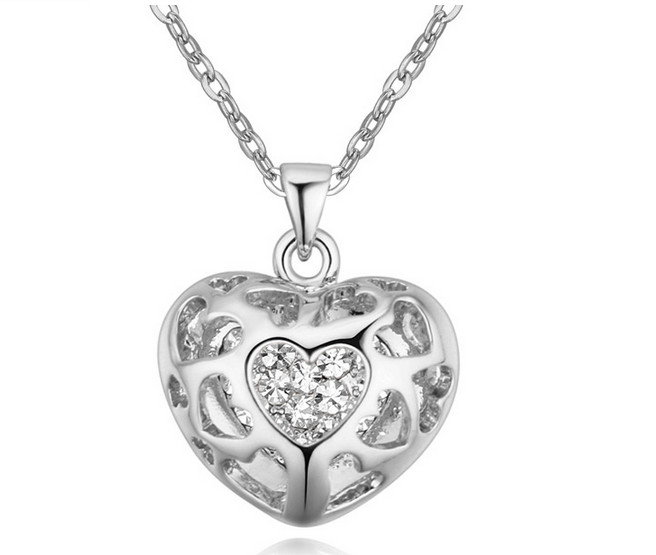 799e1d36293116 RONGQING Antyczne Srebro Serce Naszyjnik Wydrążone Serce Kryształowy  Naszyjnik dla Kobiet