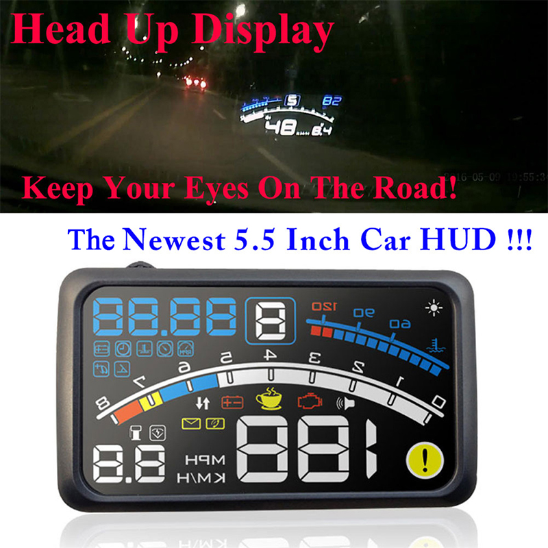 4E 5.5 Head Up Display HUD OBDII EOBD Windshield Projector Self-adaptive Car Fuel Parameter Display Speeding Warning w/ bracket actisafety car hud head up display bluetooth ash 4c bt diagnostic tool obdii android phone
