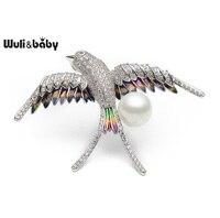 Wuli & Baby Koper Crystal Enamel Swallow Broches Mannen vrouwen Gesimuleerde Parel Vogel Broche Pins Bruiloften Gift Broche Sjaal gesp