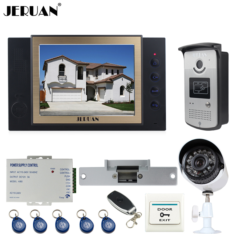 JERUAN 8 inch Video Door Phone Record intercom System kit RFID Access IR Camera +Metal 700TVL Analog Camera+Cathode lock dste bp88b аккумулятор для samsung mv900 mv900f цифровая камера