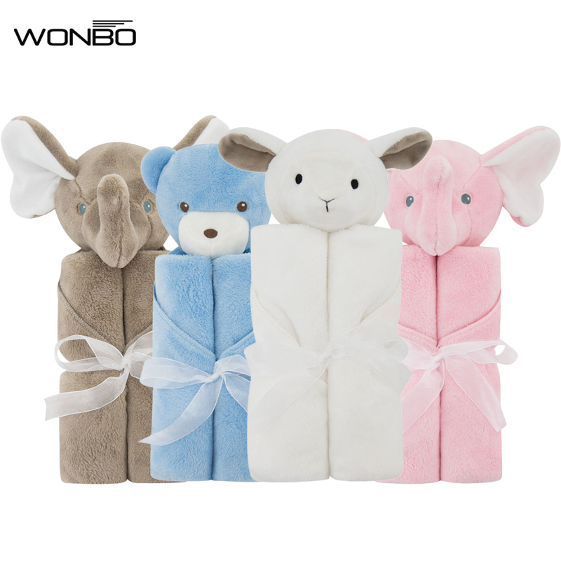 Baby Blankets 76x76cm Baby Bedding Winter Birthday Gift Newborn Soft Warm Coral Fleece Plush Animal Educational Plush Toy