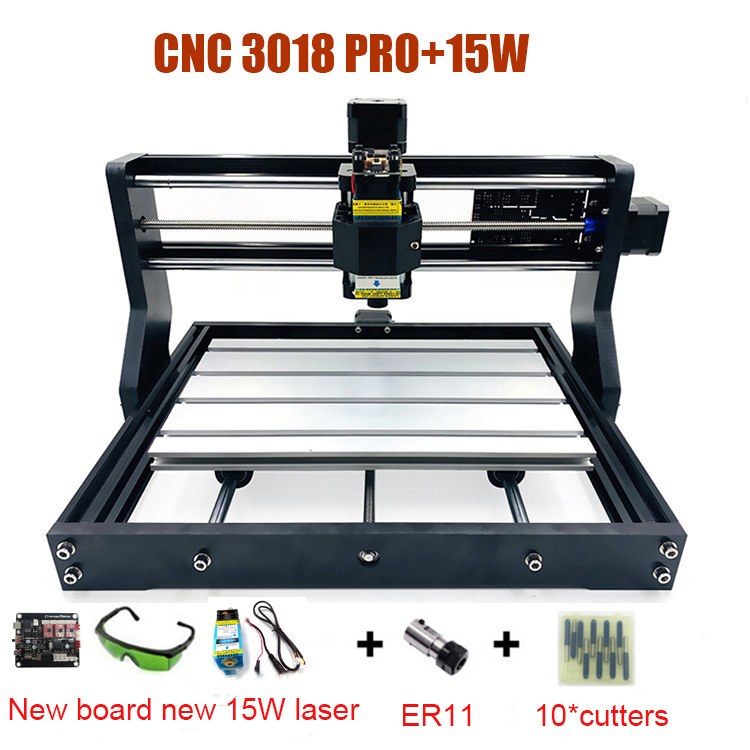 RU Stock Upgraded DIY CNC 3018 PRO Laser Router Machine Engraver With GRBL SOftware 500MW 2500MW 5500MW 15W Mould Heads(China)