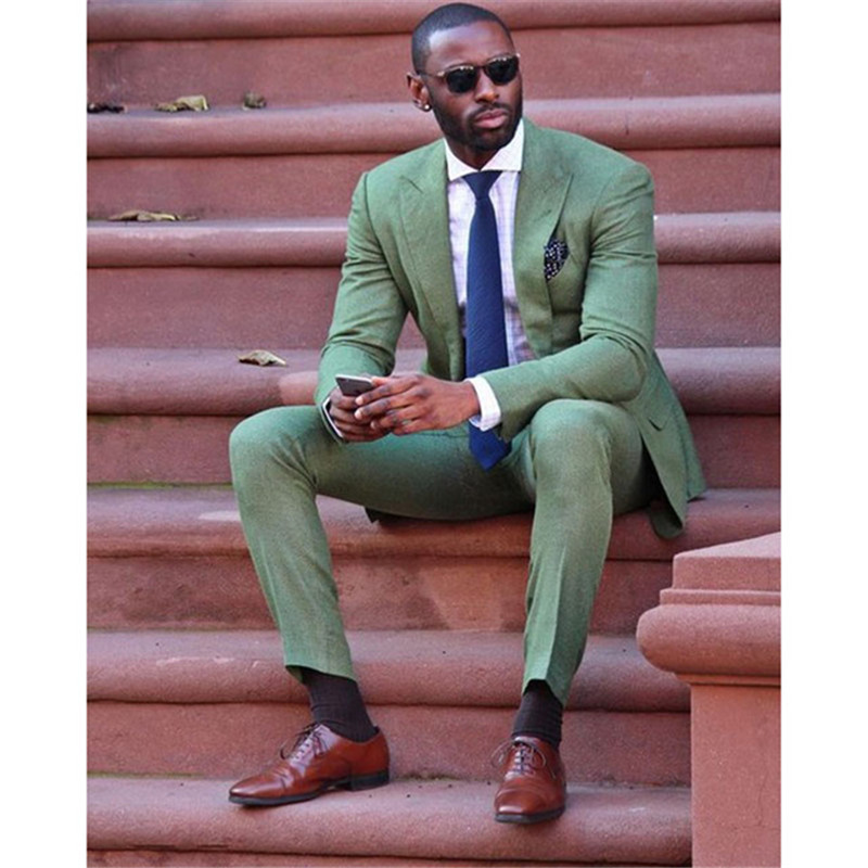 Men Suits Prom-Tuxedo Jacket--Pants Linen Casual-Wear Slim-Fit Wedding Party Green Fashion
