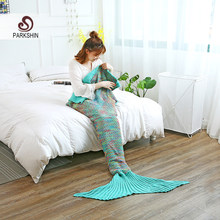 Parkshin Multi Colors Knitted Mermaid Tail Blanket Adult/Child Sleeping Bag Mermaid Throw Blanket Sofa Blanket Wholesale(China)