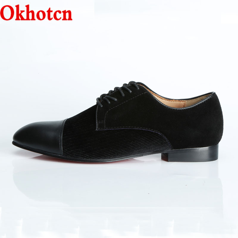 91db9b19f181 OKHOTCH Spring Autumn Men Shoes Black Square Toe Leathe Red Bottom Business Brogue  Shoes Square Heels Lace-up Oxfords Shoes Man