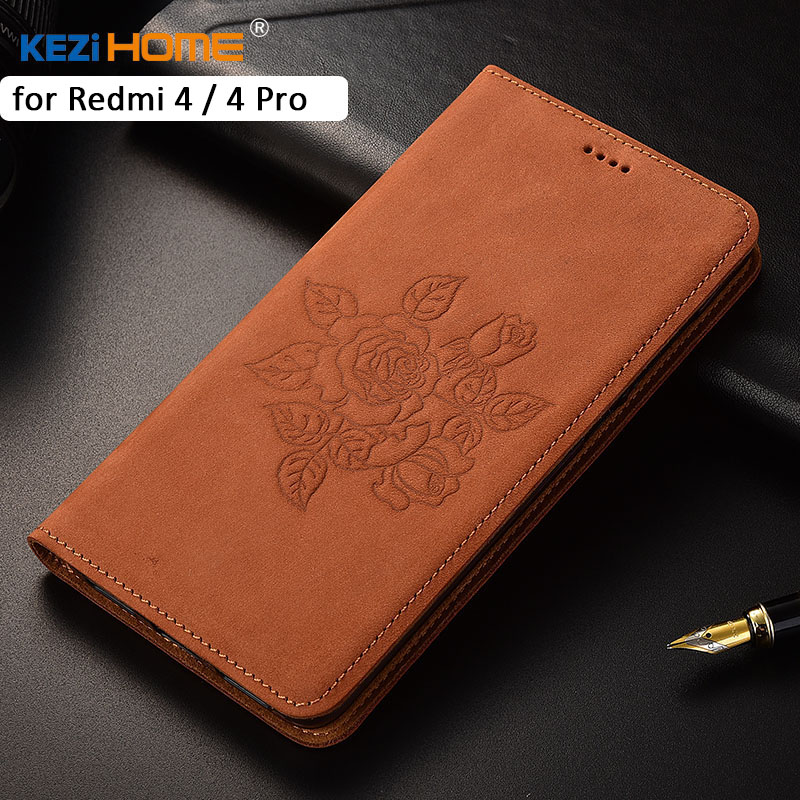 Xiaomi Redmi 4 Pro Case KEZiHOME Matte Genuine Leather Flower Printing Flip Stand Leather Cover Capa