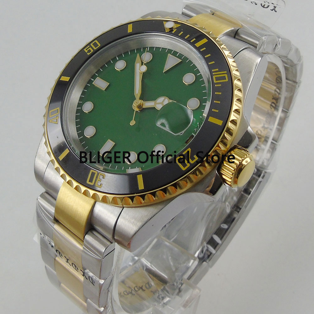 Sapphire BLIGER 40mm Green Dial Ceramic Bezel Luminous Luxury Gold Plated Stainless Steel Band Automatic Movement Mens WatchSapphire BLIGER 40mm Green Dial Ceramic Bezel Luminous Luxury Gold Plated Stainless Steel Band Automatic Movement Mens Watch