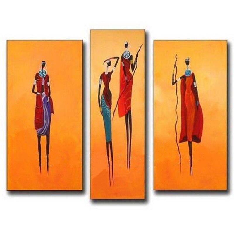Peint à la main abstraite afrique Figure peinture à l'huile sur toile peintures à la main moderne mur Art 3 panneau photos décor à la maison