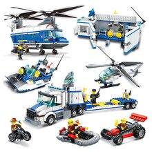 DIY Model Building Kits 3D Scale Toys Car Speedboat Helicopter Police Station Model Enlighten Blocks Brinquedos Gift