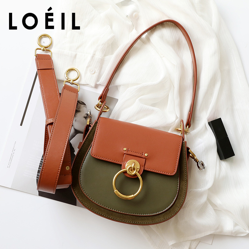 LOEIL Leather saddle bag female 2018 autumn and winter hit color retro wide shoulder strap Messenger bag ring pig bag stylish women s hit color spaghetti strap blouse