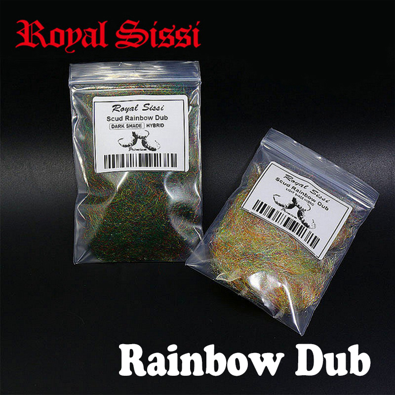 Royal Sissi 2packs rainbow scud dubbing light & Dark rainbow shade assorted scud dubs nymph thorax collar fly tying materials