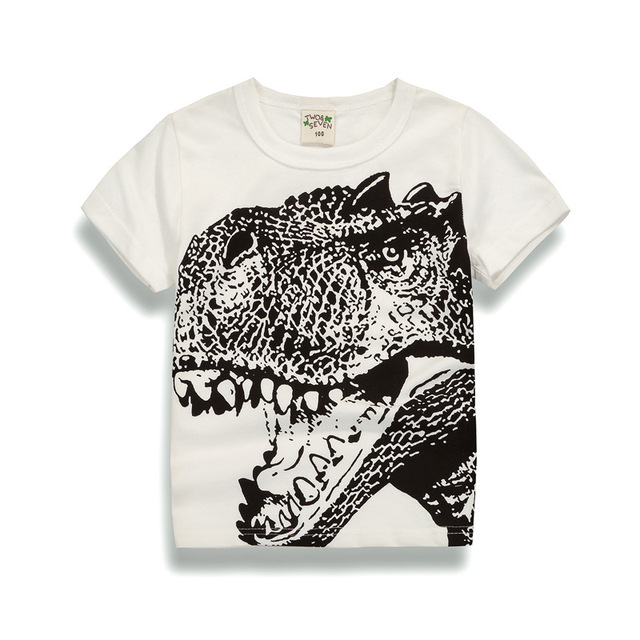 Boys & Girls Cartoon T-shirts Kids Dinosaur Print T Shirt For Boys Children Summer Short Sleeve T-shirt Cotton Tops Clothing
