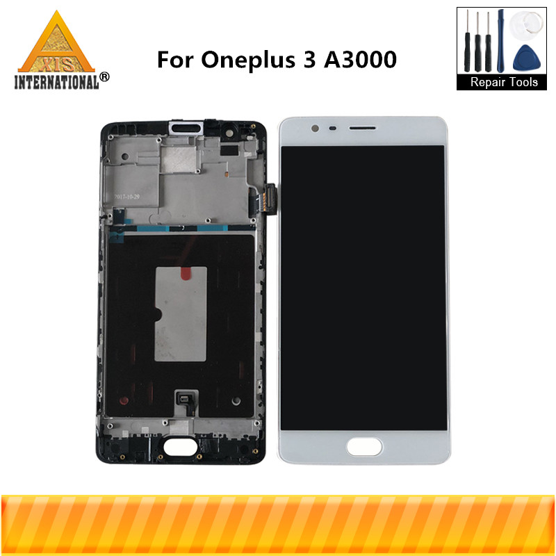 Original Axisinternational For OnePlus 3 One Plus 3 A3000 AMOLED LCD Screen Display Touch Panel Digitizer