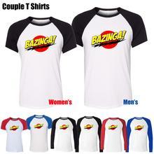 Bazinga Big Bang Theory Sheldon Cooper Design Printed T-Shirt Women's Girl's Graphic Tee Tops Red or Black Sleeve