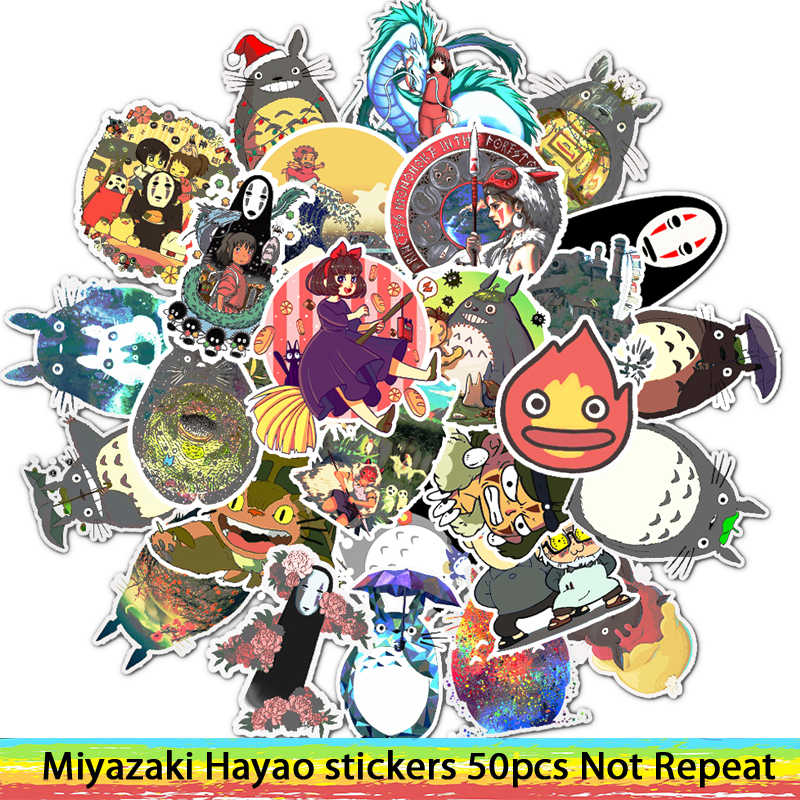 50 Pcs Stiker Miyazaki Hayao Anime Stiker My Neighbor Totoro/Spirited Away untuk Skateboard Laptop Sepeda Tahan Air Stiker
