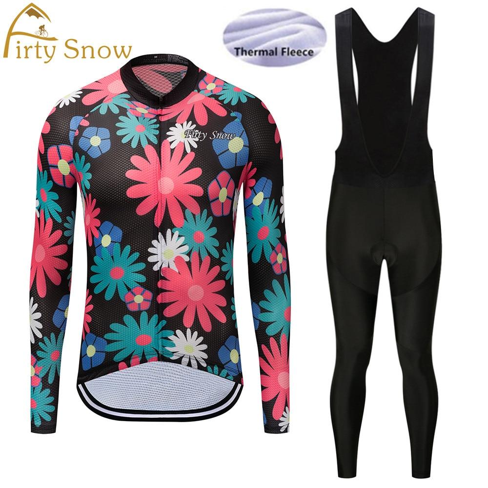 Firty sonw Winter Thermal Fleece Cycling Jersey Long Sleeve Jerseys Cycling Bib Pants Set Bike Bicycle Cycling Clothes