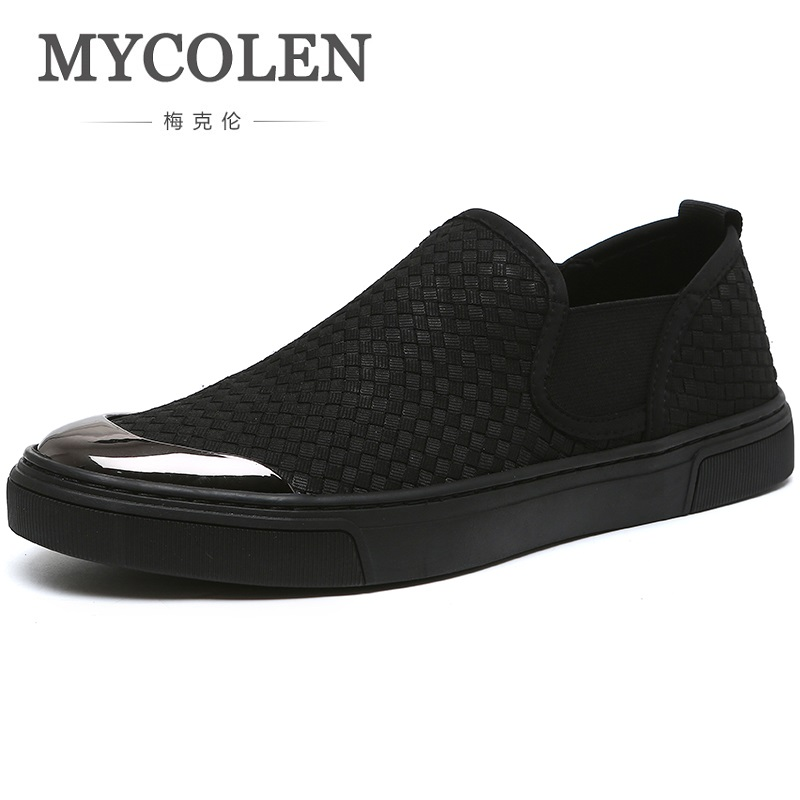 MYCOLEN 2018 Fashion Men Casual Shoes Spring Summer New Men Shoes Comfortable Slip-On Canvas Shoes Plimsolls Espadrilles foot sequins slip on plimsolls