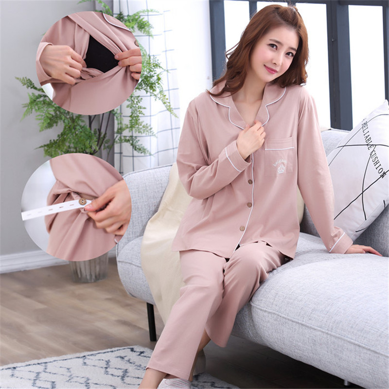 Cotton Maternity Breastfeeding Pajamas Set Cardigan+Trousers Turn-down Collar Cotton Pregnant Women Nursing Clothings Nightgown