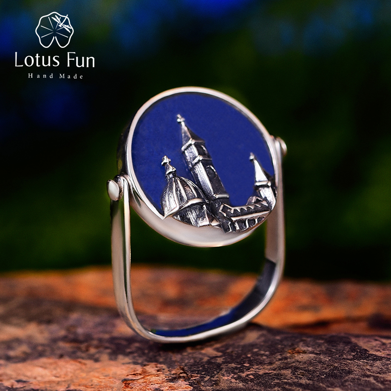 Lotus Fun Real 925 Sterling Silver Natural Aventurine Gemstone Ring Fine Jewelry Florence Cathedral Rings For Women Bijoux