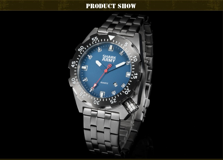 Shark Army Top Brand Man Watch Luminous 10ATM Water Resistant Blue Surfing Military Full Steel Quartz Sport Wristwatches /SAW188 12