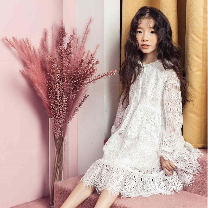 2018 Baby Girls New Summer White Dress Kids Party Dress Baby Girls Long Sleeve Lace Vintage Dress Vetement Enfant Fille 12 13 14
