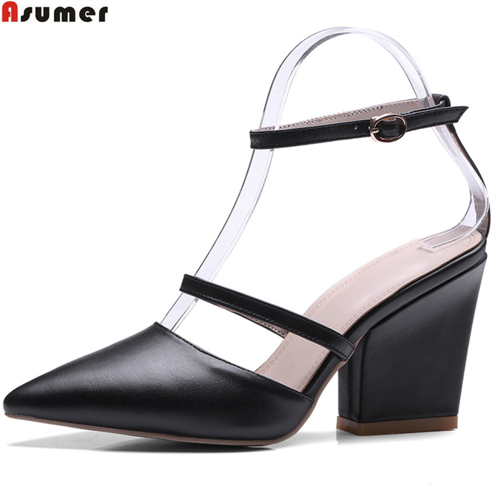 Asumer fashion pointed toe buckle elegant pump shoes shallow prom work shoes ladies genuine leather high heels shoes memunia flock pointed toe ladies summer high heels shoes fashion buckle color mixing women pumps elegant lady prom shoes