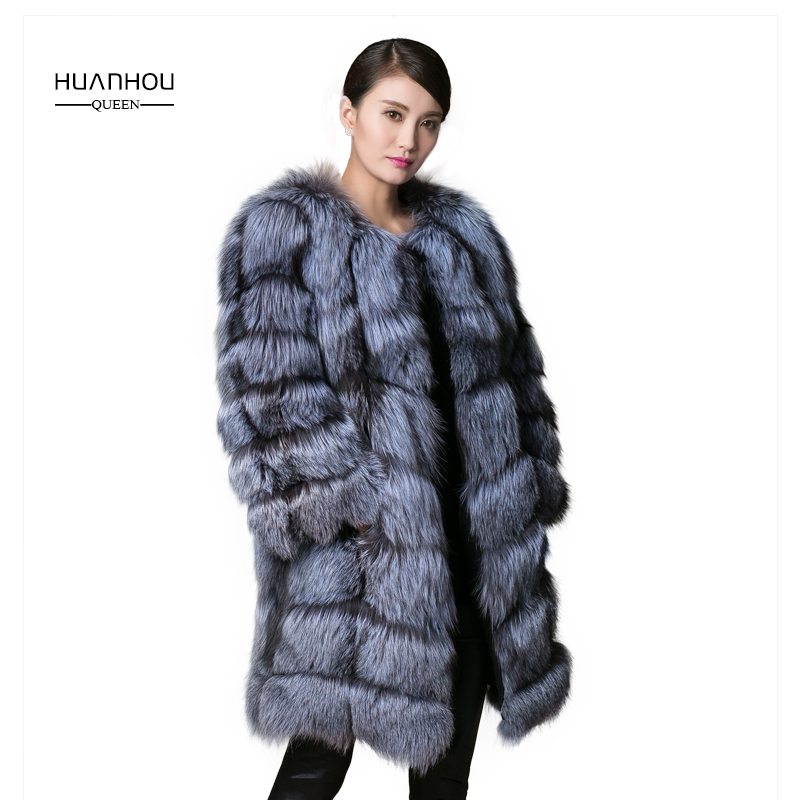 HUANHOU QUEEN real silver fox fur coat for women's long style fox fur coat with three quarter sleeves, thick warm fox fur jacet.