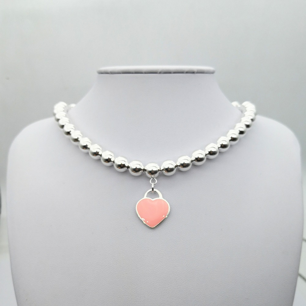 TIFF925 silver popular classic heart shaped pink red blue enamel round bead necklace pendant ladies fashion jewelry gifts
