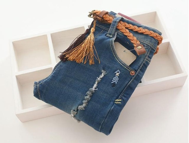 New Arrival Baby Girls Spring Autumn Denim Jeans Girls Fashion Distrressed Skinny Jeans Kids Long Pants With Belt