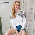 Simplee Bordado blusa blanca camisa Ocasional de las mujeres de verano de manga larga blusas tops 2017 streetwear blusas