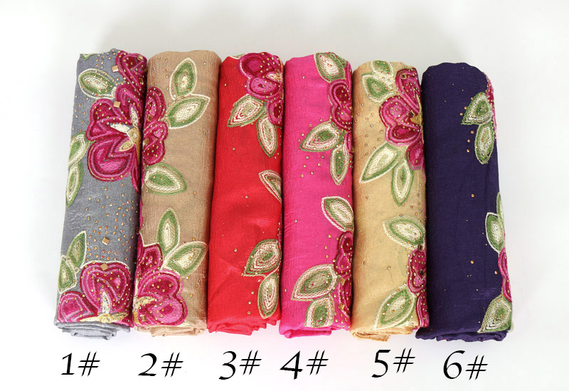 LMLAVEN embroidery flower scarf glitter silk hijab luxury shawl women scarves muslim hijab head scarf brand