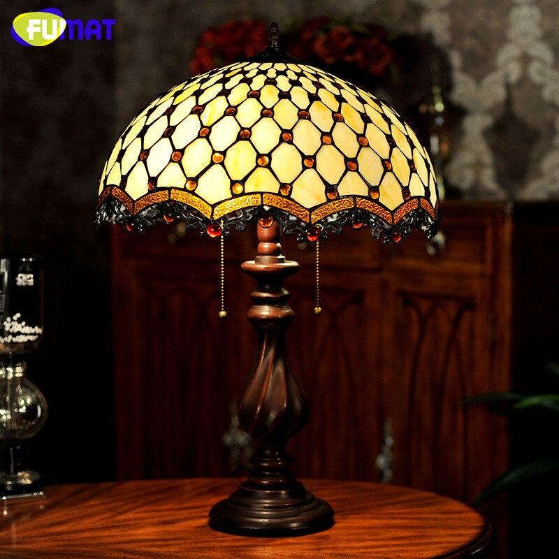 FUMAT vitráže stolní lampa evropského stylu klasické korálky záclony lampa obývací pokoj noční lampa LED žlutá teplá stolní světla