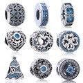 Cielo Azul Original Beads Fit Pandora Pulsera Colgante 925 Sterling Silver Love Corazón Amoroso Círculo Encanto Encantos de la Joyería de La Vendimia