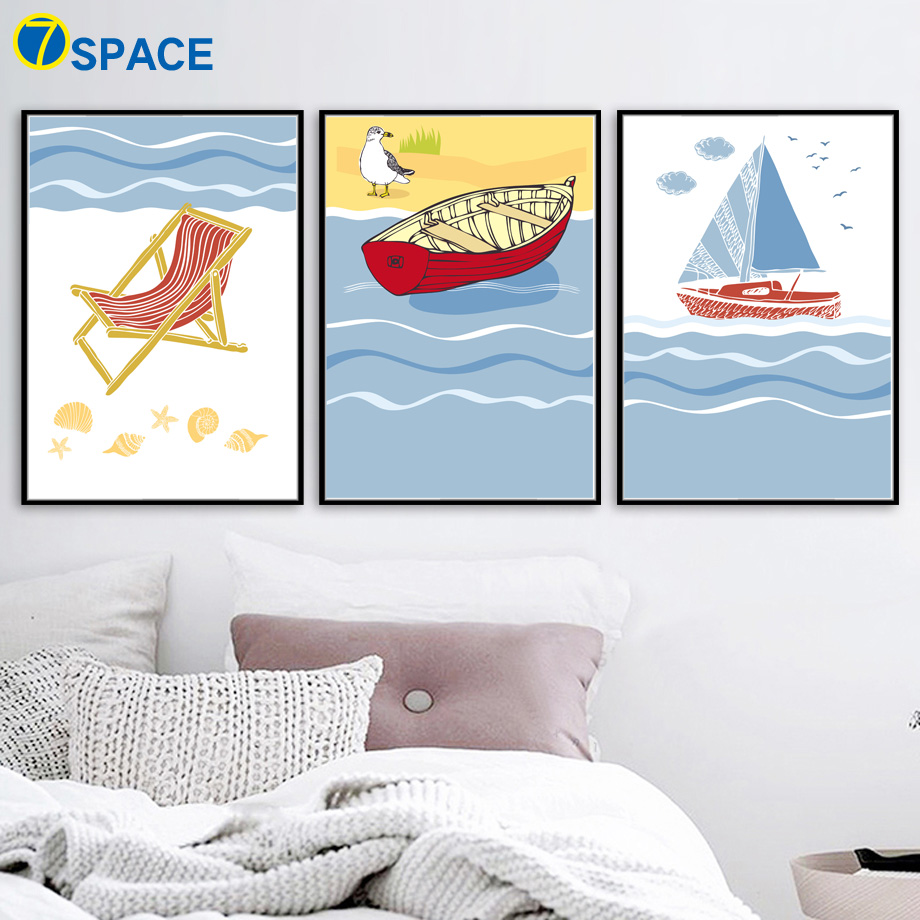 Nordic Poster Modern Minimalist Canvas Pictures For Living Room Wall Art Cartoon Ocean Sail Boat Beach Chair Kis Room Decor Painting & Calligraphy