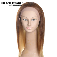 Black Pearl 20inch Ombre Brown Blonde Human Hair Wigs For Women Long Straight Hair Lace Front Wig Vogue Party Full Wig Remy Hair