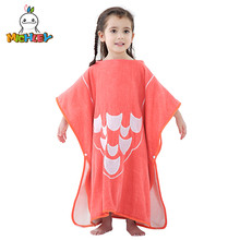 MICHLEY Children Unisex Hooded Beach Cloak Flannel Cartoon Animal Boy Girl Bath Poncho Towel Kids Swimming Leisure