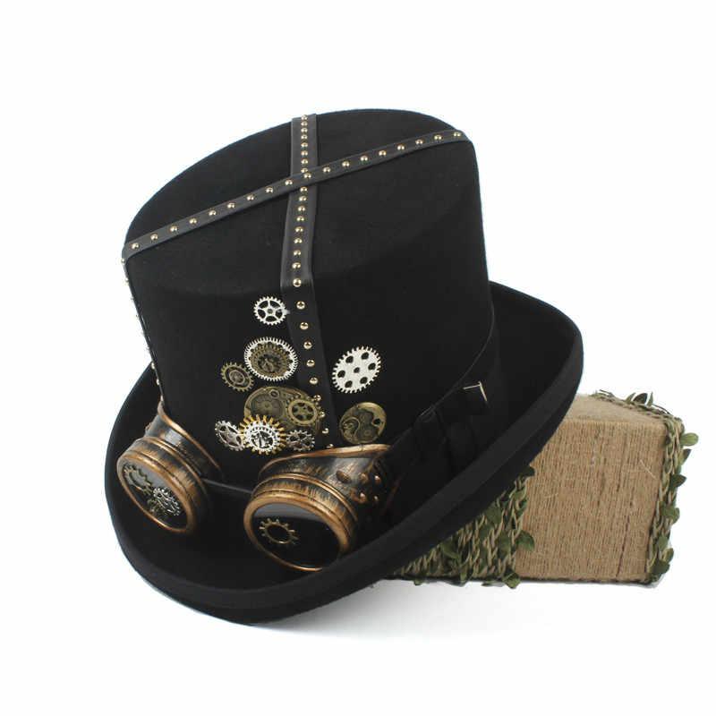 15 CM Phụ Nữ Người Đàn Ông Steampunk Top Hat Với Kính Punk Victoria Bánh Răng Vật Làm Và Bán Kính Đảng Cosplay Cap 4 Kích Thước